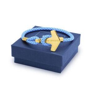 thor hammer bracelet sky blue gold 18k box