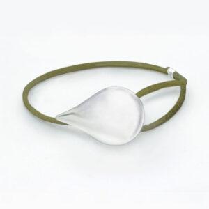 olive green tear of freya silver bracelet